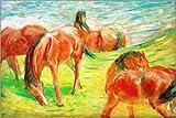 POSTERLOUNGE Impression sur Verre Acrylique 150 x 100 cm: Grazing Horses de Franz Marc/akg-Images