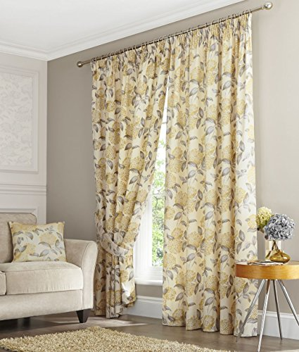 Homescapes Grey Cream Yellow Buttercup Floral Pencil Pleat Curtain Pair Width 90 x 72 Inch Drop - Vintage Style Lined Curtains for Living Room, Dining and Bedroom