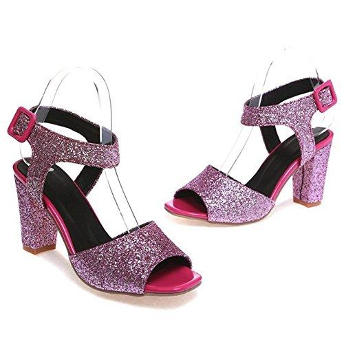 COOLCEPT Femmes Mode Sangle De Cheville Des Sandals Bloc Peep Toe Slingback Chaussures Violet
