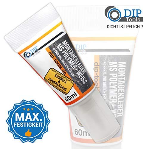 DIP-Tools Montagekleber mit Maximaler Anfangshaftung - Geruchsarmer und Wasserfester Universal Montage Kleber für Innen & Außen - weiß (1, 60g)