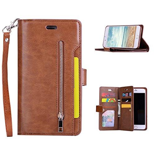 564707d973 iPhone 8 Plus Cover, iPhone 7 Plus Custodia a portafoglio con 9 porta carte  di