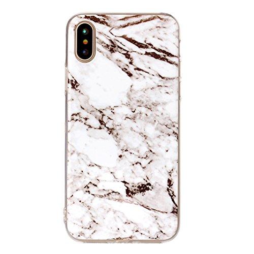 iPhone X Schutzhülle, Rosa Schleife iPhone 10 Ultra Dünn TPU Backcover Weiche Silikon Cases Cover Marmor Hülle Kratzfest Handyhülle Schale Bumper für iPhone X / 10 Rosa Schwarz Marmor Weiß Marmor
