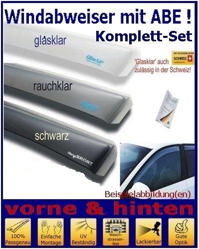 Climair Windabweiser Set vorne & hinten (mit ABE) 04-2582D.KS, Farbausführung: schwarz