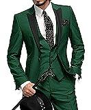 Solovesdress Herren Groomsmen Blazer dreiteilige Herren Anzug Smoking Jacke Tux Weste(Grün,36)
