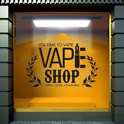 Vape Shop Worte Wandtattoo Fenster Aufkleber Vape Shop Vaping Vape Shop Logo Glas Aufkleber Vinyl abnehmbare Wandaufkleber 57X92cm