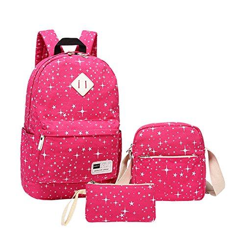 Zaino da scuola per le ragazze adolescenti insieme con la borsa della matita del sacchetto del pranzo Rose Rosso