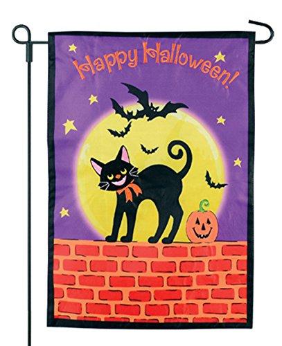 Flagge Garten Flagge-schwarz Katze auf Einer Wand-12x 18-Home Garten Flagge ()