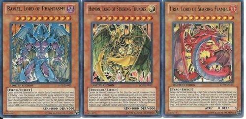 Uria, Lord of the Searing Flame Ultra Rare;Hamon, Lord the Striking Thunder Ultra Rare;Raviel, Lord of Phantasms Ultra Rare