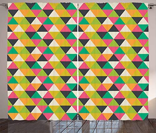 ABAKUHAUS Geometrisch Rustikaler Gardine, Retro Hipster-Mosaik-Fliese, Schlafzimmer Kräuselband Vorhang mit Schlaufen und Haken, 280 x 245 cm, Mehrfarbig