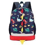 Kanpola Toddler School Bag for Boys Girls Kids Dinosaur Pattern Animals Backpack Shoulder Bags (Dark Blue)