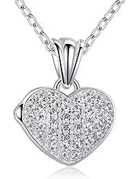 Ashley joyas pave corazón colgante camafeo colgante collar plata de ley 18pulgadas