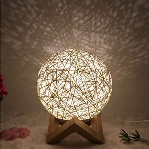 Wangirl Lampe de Table en Chanvre Créatif Nouveauté LED Lampe de Balle en Rotin Couleur Intelligente (Taille 20Cm * 24Cm),White