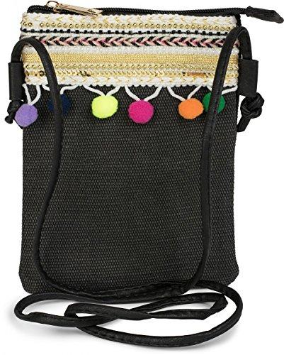 styleBREAKER Minibag Umhängetasche mit Bommel und bunter Schmuck Bordüre im Ethno Style, Schultertasche, Tasche, Damen 02012128, Farbe:Schwarz