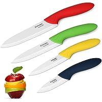 Knendet Ensemble de 4 Couteaux Chef de Cuisine Céramique Multicolores avec Lame Professionnelle Ultra Tranchante…