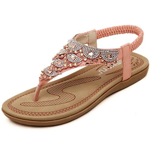 Sandacon zeppa con zeppa sandali da spiaggia estivi da donna bohemia con strass pantofole basse scarpe con tacco basso scarpe in pelle sandali stivali spessi ( colore : rosa , dimensione : 37 1/3 eu )
