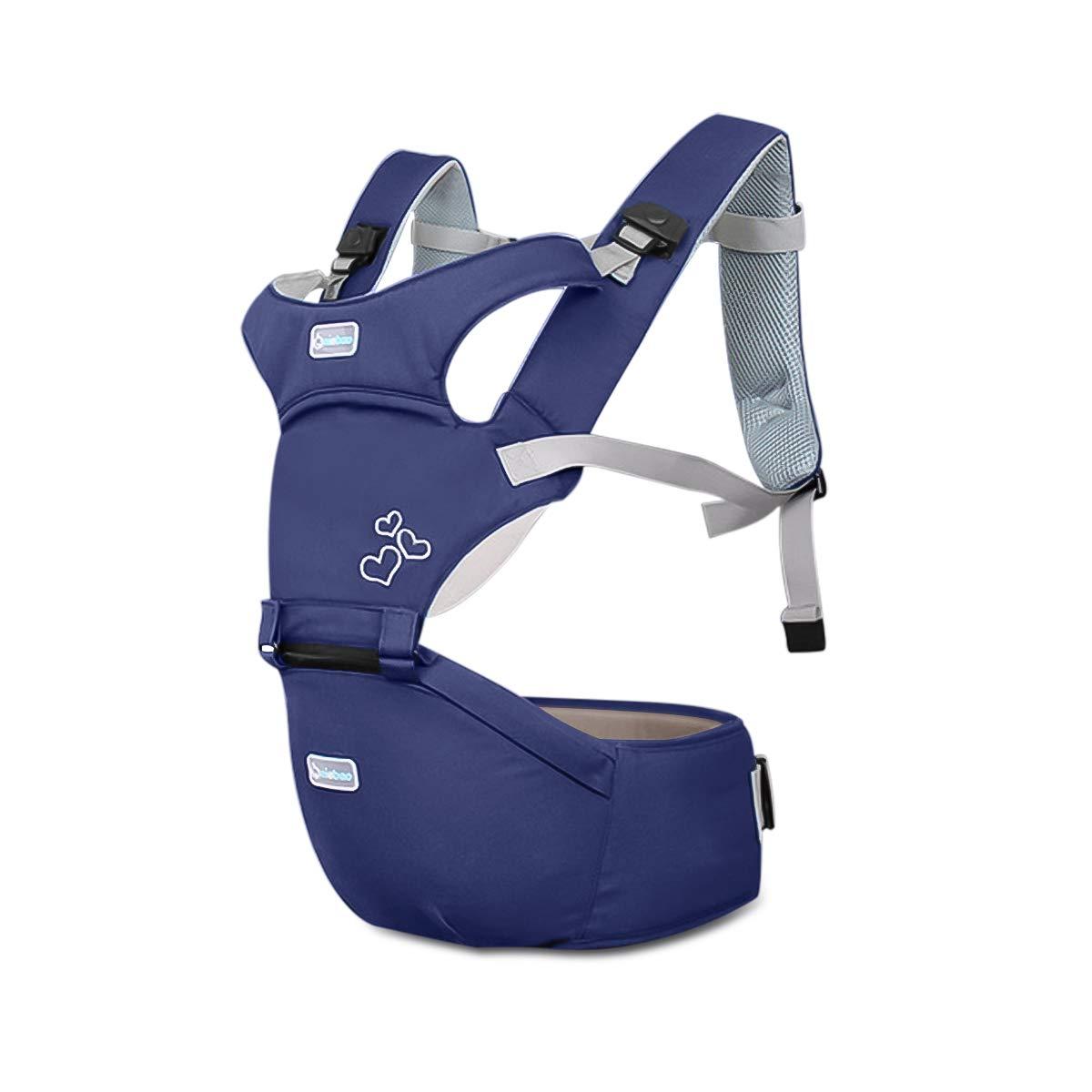 SONARIN 3-in-1 Multifunktions-Premium-Babytrage mit abnehmbarem Hüftsitz, atmungsaktive Mesh-Rückseite,Ergonomische,100% Baumwolle,Aufblasbarer Hocker,An das Wachstum Ihres Kindes anpassen