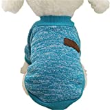 Hmeng 8 Farbe Haustier Hund Welpen klassischen Pullover Fleece Pullover Kleidung Warm Pullover Winter Mode (L, Blau)