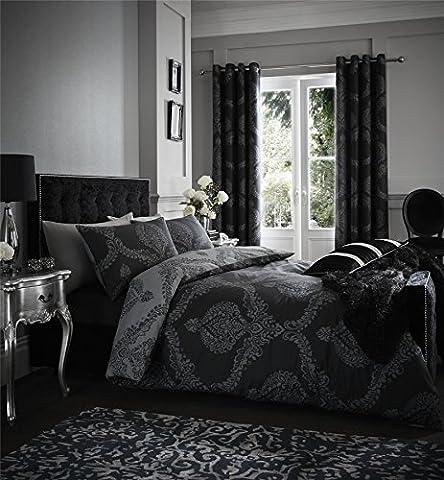 DAMASK BLACK GREY REVERSIBLE COTTON BLEND SINGLE (PLAIN WHITE FITTED SHEET - 91 X 191CM + 25) 3 PIECE BEDDING