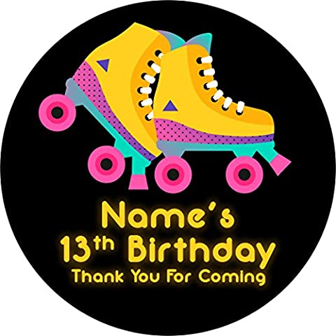 Roller Skating Bright Neon Sticker Labels (24 Stickers @ 4.5cm) Personalised Seals Ideal for Party Bags, Sweet Cones, Favours, Jars, Presentations Gift Boxes, Bottles,