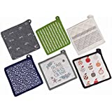 Set Of 6 Kitchen Pot Holder Assorted 100% Cotton Padded By Beddify