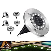 مصابيح ارضية مقاومة للماء تعمل بالطاقة الشمسية تحتوي على 12 خرزة اضاءة ليد للحدائق والاماكن المفتوحة والممرات والباحات الخلفية والفناء ومدخل السيارات - لون ابيض - 6 قطع