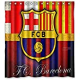 "RAROFU Cool FC Barcelona Shower Curtain Standard Inch Size 66""(w) x 72""(h)"