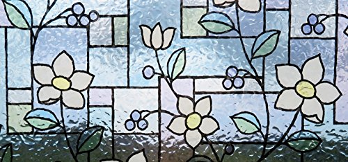 Linea Fix Static Fensterfolie Blumen bunt GLS 4657 Bleiglas Style 92 cm hoch, statische Dekorfolie - Sichtschutzfolie Glasdekorfolie Fensterdeko Sichtschutz Fenster- Meterware