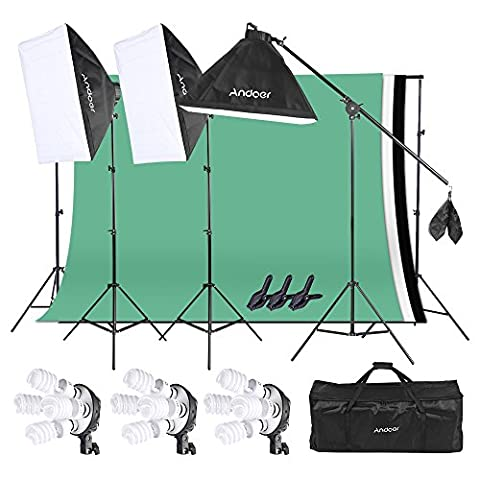 Andoer Photo Studio Kit d'éclairage (Softbox, l 'ampoule, Prise de courant UE, Pied d'éclairage, Cantilever bâton, Fond noir blanc vert, Toile de fond support, Pince à ressort, Sac de transport)