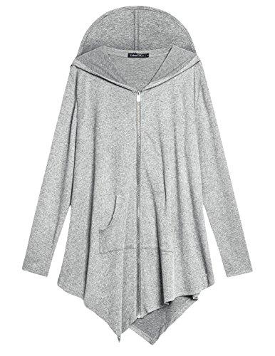Zip Hooded Sweatshirt Jacke Handchief Saum (3X-Large, hellgrau) (3x Kostüm)