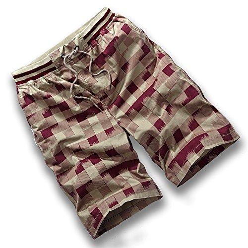 HOOM-Nouveau pantalon de plage d'été occasionnels Shorts hommes Camo coton taille lâche cinq pantalons shorts F