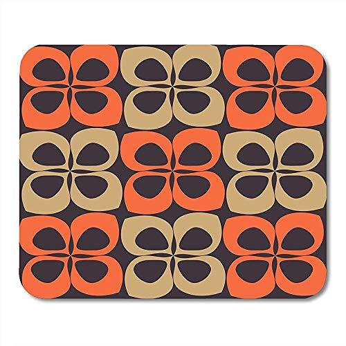 Mousepad Orange 60Er Und 70Er Jahre Styled Pattern Beige 1960Er 1970Er Jahre Retro Mauspad 25X30Cm