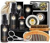 Upgraded Beard Grooming Kit w/Beard Baubles,Beard Shaper,Beard Growth Oil,Beard Balm,Beard Shampoo/Wash,Beard Brush,Beard Comb,Beard Scissors,Storage Bag,E-Book,Beard Care Grooming Daddy Gifts for Men