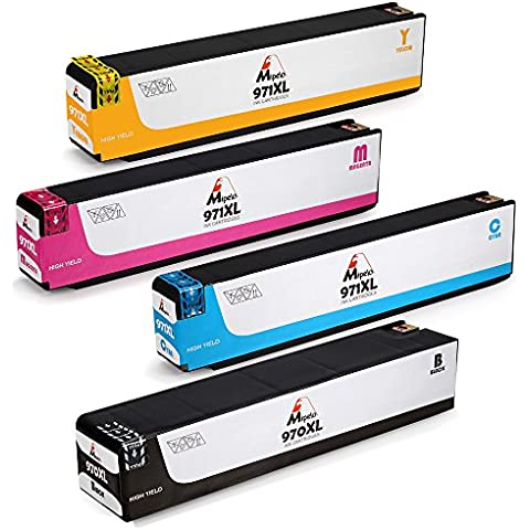 Mipelo Compatible HP 970XL 971XL Cartuchos de tinta, Utilizado en HP Officejet Pro X451DW X451DN X476DN X476DW X551DW X576DW Impresora (1 Negro 1 Cian 1 Magenta 1