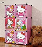 #6: PoshTots Kids High Quality Imported Foldable wardrobe for Kids Cabinet Almirah with 6 Storage Shelves - Gift toy