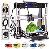 Impresoras 3D, A8-W5 Pro Pantalla LCD de bricolaje Kit de impresora 3D, Filamento de impresora ABS/PLA de 1.75 mm gratis (Tamaño de compilación 220 × 220 × 240 mm)