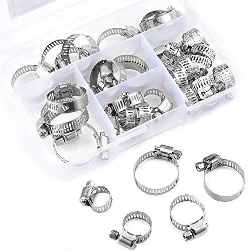36 colliers de serrage ajustables pour tuyaux, collier de serrage pour vis sans fin en acier inoxydable de 6-29mm, avec boîte de compartiment