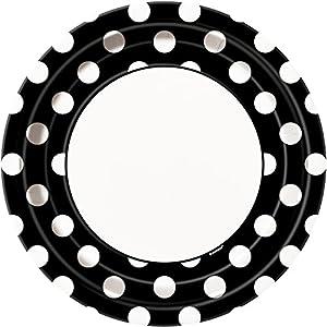 Unique Party Paquete de 8 platos de papel a lunares Color negro 37455