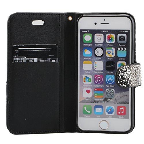 """Cover pour Apple iPhone 7 4.7"""", CLTPY Mignon Paillette Flash Diamond Motif Style Design avec Magnetique et Fente de Carte Full Body Wrap Back Cover Case Couvrir pour iPhone 7 + 1x Stylet - Argenté 3 Noir 3"""