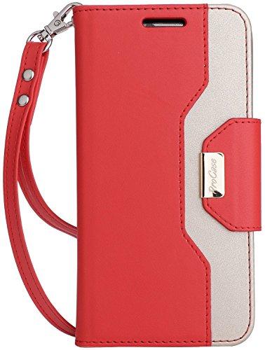 LG G6 Beutel Hülle, ProCase Klappkarte Falten Hülle für LG G6 5.7 Zoll, stilvolle Slim Stand Cover für LG G6 -Rot Pocket-pc-leder