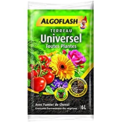 ALGOFLASH Terreau Universel, Croissance vigoureuse, Pour toutes les variétés de végétaux, 6 L, ATSOL6