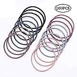 ChuckSss 100 Stück mehrfarbige elastische Haarbänder Haargummi Haarbänder für dickes, schweres und lockiges Haar
