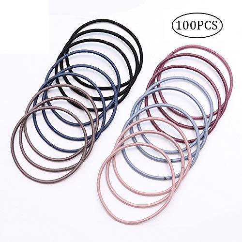 ChuckSss 100 Stück mehrfarbige elastische Haarbänder Haargummi Haarbänder für dickes, schweres...