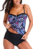 CharmLeaks Damen Tankini Set Paisley Bikini-Sets Sommer Bademode Oberteile + Slip Blau 2XL