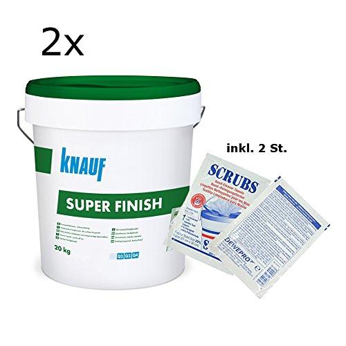 2x Knauf Super Finish - Allzweckspachtelmasse - im Set inkl. 2 St. Original DEWEPRO® Single Scrubs
