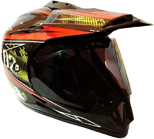 O2 O223 Desiner Onroad Black:Red Motorcross Helmet(Black_Medium)