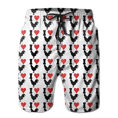 Mens Mens Quick Dry kausalen Strand Shorts passen Sommer Kurze Hosen mit Taschen (ich Liebe Hahn Huhn) (Hahn Huhn Dekor)
