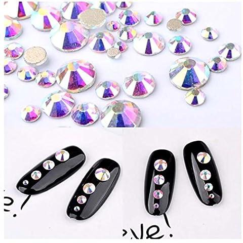 Xshuai 450 Stück 2mm - 6mm wunderbare Harz Kristall AB Runde Nail Art gemischte Flatbacks Strasssteine (Mehrfarbig)
