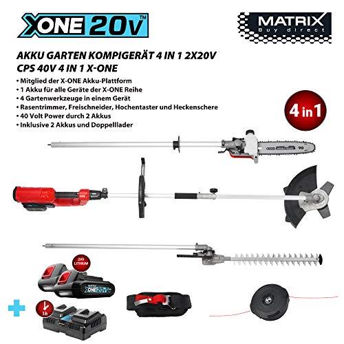Matrix 511010594 CPS 20V X-ONE Akku Garten-Kombigerät 4 in1 Hochentaster, Heckenschere, Freischneider, Rasentrimmer, Rot, Schwarz