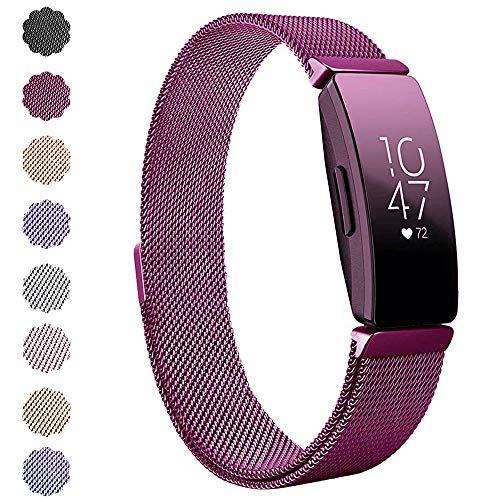 """KIMILAR Kompatibel Fitbit Inspire & Inspire HR Armband Metall, Ersatz-Armbänder Verstellbare Metal Band Magnet Armband für Fitbit Inpsire & Inspire HR Fitness-Tracker (6.1\"""" - 9.9\"""", Sangria)"""