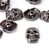 weddecor 11mm gunmetal Skull Head Punk Metall Nieten-Fashion Zubehör für Leder Gürtel, Taschen, DIY Arbeit, Schuh, Designer Kleidung (100Stück)